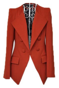 Orange Lapel Long Sleeve Shoulder Pads Suit