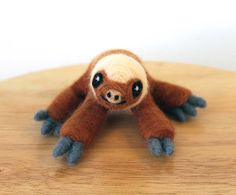 Needle Felted Baby Two Toed Sloth Soft Sculpture Animal Figurine - Made to Order - by Karen Watkins - Sloth Art - Felt Sloth Sculpture