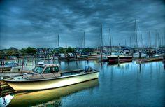 HDR photo taken in Newport, Rhode Island at the harbor near downtown Newport, RI.