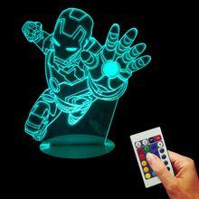 Envío Gratis 1 Pieza Marvel Superhero Lámpara de Escritorio de The Avengers Tony Stark Iron Man Usb Control remoto 3D Bulbificación Luz(China (Mainland))
