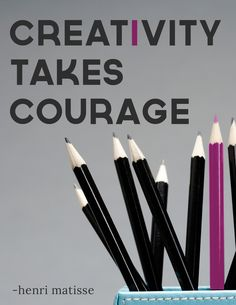 Diving into the creative process takes courage, because it doesn't always flow as easily as we would like. Don't let anything get in the way of your creativity! / See Products for Your Creative Success from coach Lisa Riley at The Art of Mind  http://talentdevelop.com/TAOM
