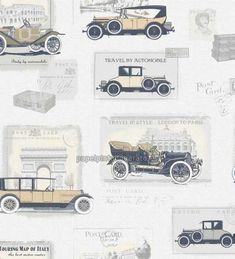 Papel pintado cromos de coches antiguos crema y beige - 1115979  papelpintadobarato.es