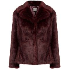 MOLLY FAUX FUR COAT (€135) ❤ liked on Polyvore featuring outerwear, coats, jackets, fur, red slip, red coat, evening coat, red faux fur coat and fake fur coats