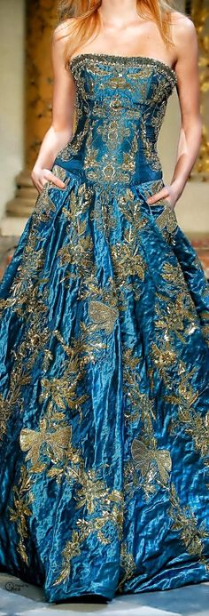 Zuhair Murad-Designs blue and gold evening gown