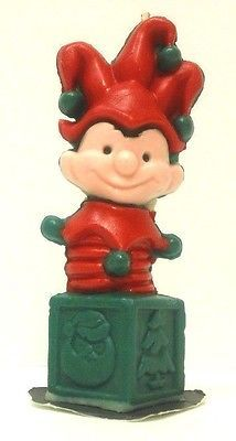 Vtg Gurley Christmas Candle Jack In the Box Elf Jester Decor Holiday Xmas