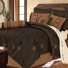 Delectably-Yours.com Laredo Brown Western Star Bedding Ensemble & 3 Pillows by HiEnd Accents - Twin Full Queen or King, matching accessories available.