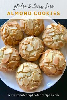 Gluten Free and Dairy Free Almond Cookies - It's Not Complicated Recipes #almondcookies #cookies #glutenfree #dairyfree #easyrecipes