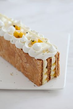 Passionfruit, Coconut and Ginger Mille Feuille | natalie eng | patisserie • food photography