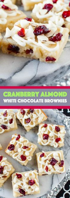 Cranberry Almond White Chocolate Brownies are chewy and fudgy and completely irresistible! This is a festive, easy dessert recipe perfect for the holidays!: