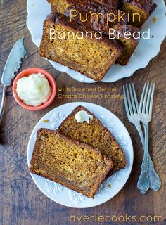 Pumpkin Banana Bread with Browned Butter Cream Cheese Frosting - Combining two of my fave breads into one. Super soft & moist! Easy, no-mixer recipe at averiecooks.com