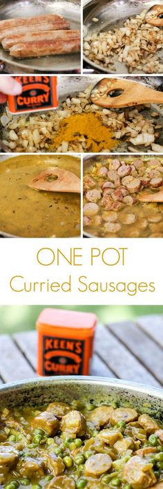 Traditional curried sausages cooked in one pot. Making dinner super easy to make and then clean up. Using keens curry powder which tastes just like your gran use to make. Cooks in less than 30 minutes (Sausage Recipes Easy) Sausage Recipes, Beef Recipes, Cooking Recipes, Healthy Recipes, Savoury Recipes, Paleo Dinner, Dinner Recipes, Dinner Ideas, Curried Sausages