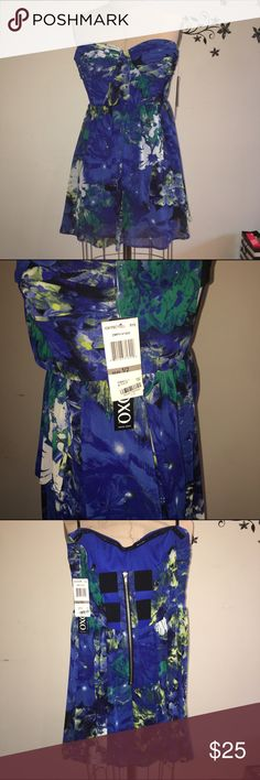 XOXO Strapless floral blue dress XOXO strapless dress. Size 1/2. Never worn, tags attached. XOXO Dresses Strapless