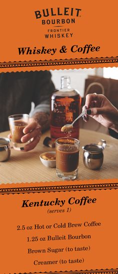Enjoy the best of both worlds with a whiskey and coffee cocktail. The Kentucky Coffee combines coffee, brown sugar, and Bulleit Bourbon. This sweet and warm drink is the perfect drink to share with friends. No matter how you take your coffee, you'll love the maple, nutmeg, and toffee flavors that Bulleit Bourbon adds. Create your own with this recipe: 2.5 oz Hot or Cold Brew Coffee, 1.25 oz Bulleit Bourbon, Brown Sugar (to taste), and creamer (to taste).