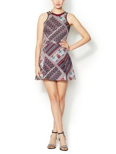 Printed Stretch Cotton Fit and Flare Dress