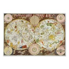 Vintage Astronomy Star Chart Planisphaeri Coeleste Posters, I must have this