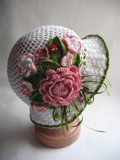 Hat Brim in White with Flowers Crochet