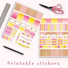 Pink And Gold Arrows Stickers -  http://etsy.me/2ee9kj7 Pink and gold arrows planner stickers pack is perfect for create handmade planners, stationery, greeting cards, craft items and much more.