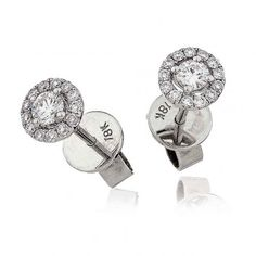 Beautiful diamonds studs at Lloyd's. Diamond Solitaire Halo Stud Earrings 0.35ct in 18k White Gold.