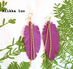 Purple colour leather feather earrings with a by RiikkaLuoDesigns Feather Earrings, Dangle Earrings, Leather Jewelry, Plant Leaves, Dangles, Colour, Chain, Purple, Etsy