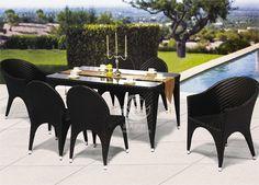 Nuevo diseño de juego de muebles de jardín de ratán sintético, al aire libre mesas y sillas