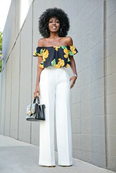Crisp Pleats And Sharp Creases Structure Dramatically Full Wide-Leg Trousers Cut With A Chic High Rise Fit Team With A Cropped Off Shoulder Black Floral Top White Flare Pants, Off White Pants, Classy Outfits, Chic Outfits, Fashion Pants, Fashion Outfits, White Jeans Outfit, Style Pantry, Girls Formal Dresses