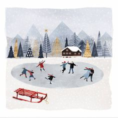 Skaters at a mountain lodge on this paper napkin design for Christmas decoupage project Illustration Noel, Winter Illustration, Christmas Illustration, Landscape Illustration, Winter Pictures, Christmas Pictures, Christmas Art, Winter Christmas, Christmas Decoupage