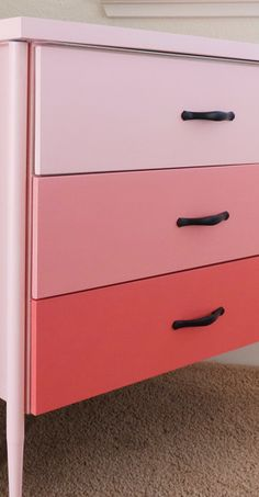 Coral Ombre Nightstand Redo - Before & After Pix. Other furniture makeovers here too.