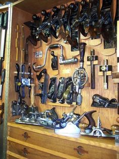 "Ten years ago I finished up my tool cabinet that I built based off of Greg Radley's tool cabinet in the Taunton Press's book ""The Toolbox Book"". Made out of red oak and waln… Woodworking Tool Cabinet, Antique Woodworking Tools, Antique Tools, Vintage Tools, Old Tools, Learn Woodworking, How To Antique Wood, Workshop Storage, Workshop Organization"