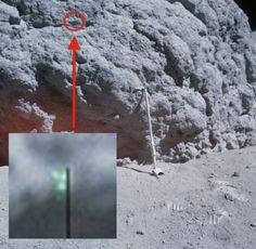 Small Green Object On Moon, NASA Apollo 16 Mission, April 18, 2014 - It had to have passed in front of the camera as it took the photo. Perhaps its some kind of biological life form that can exist in space. If a life form develops not needing oxygen, then whats can stop it from living in space? Photo with object: http://www.hq.nasa.gov/alsj/a16/AS16-117-18728HR.jpg Photo without object: http://www.hq.nasa.gov/alsj/a16/AS16-117-18727HR.jpg