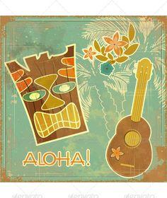 Retro Hawaiian postcard invitation to Beach party vector illustration.EPS10 . File has transparency.