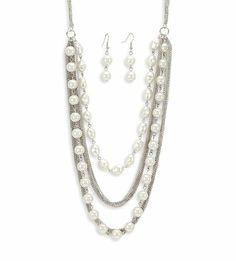 Silver Tone White Pearl Color Necklace Dangle Earrings VistaBella. $22.99. Save 73%!