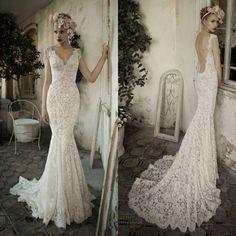 White/Ivory Open Back Lace Wedding Dress #weddingdress #lace