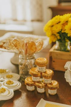 Honey lollipops and small jars of French honey at honeycomb-themed baby shower by @dorangelab, photographed  @jessicacharles | Two Bright Lights :: Blog