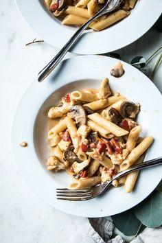 Flourishing Foodie: Creamy Havarti Pasta with Mushrooms and Cauliflower