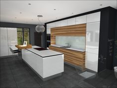 Contemporary gloss Handleless kitchen design with island and satin walnut veneer feature