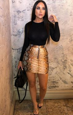 3c753cd5b Stay hot on the PU trend with our Orange Snake Print PU Zip Skirt. This