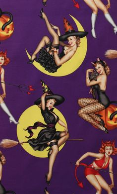 NEW - Alexander Henry Fabric - Bewitched - Haunted House Collection - Purple - Novelty Fabric. $8.25, via Etsy.