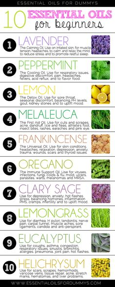 New to essential oils? These 10 will help get you started. Click for more detailed information on each.