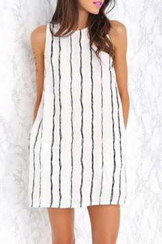 Brief Round Collar Vertical Stripe Summer Dress For Women Summer Dresses | RoseGal.com Mobile