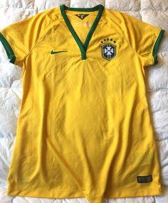 NIKE Brazil Brasil CBF Mens Large L Stadium Jersey Maize/Green $75 Authentic #Nike #Brazil