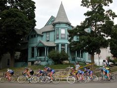 Victorian house in Waukesha, Wisconsin during Superweek cycling race