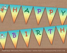 Toopy and Binoo Happy Birthday Party Paper Bunting Flags Pennant Banner - Treehouse, Kids Cartoon, TV Show - DIY Digital Printable