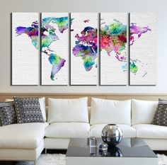 3 panel split abstract world map canvas print15 deep frames 3 panel split abstract world map canvas print15 deep framestriptych map wall art for homeoffice wall decor interior design pinterest office gumiabroncs Image collections