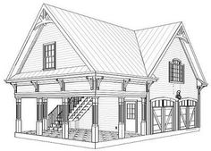 Plan Carriage House Plan with Elbow Room In love with this carriage house! I would for sure make the upstairs a huge office/craft room, and turn the 2 car garage into my own little gym! This would make a great starter house :)