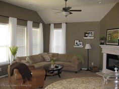 Warm interiors on pinterest orange rooms taupe and for What color curtains go with taupe walls