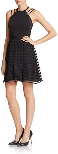 Guess - Striped Halter Fit-and-Flare Dress Lord & Taylor, Flare Dress, Fit And Flare, Street Wear, Party Dress, Street Style, Clothes For Women, Formal Dresses, Lace