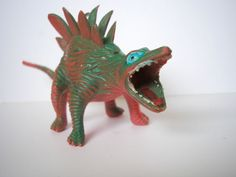Vintage rare old rubber dinosaur toy model from 1970-1980s