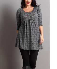 Another great find on #zulily! Black & White Checker Empire-Waist Tunic - Plus #zulilyfinds