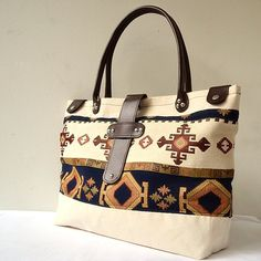 Tote Bag Tribal Cotton-Canvas and Leather Tote, Large Beach Tote, Travel Tote, Shoulder Bag, Diaper Bag, Sports Bag, Kilim, Tribal, Boho. $104.00, via Etsy.