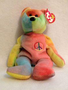 Rainbow TEDDY BEANIE BABY Peace Hippy Tye Dye Plush Stocking Stuffer #Ty Beanie Buddies, Ty Beanie, Peace Beanie Baby, Rainbow Connection, Dinosaur Stuffed Animal, Stuffed Animals, Tye Dye, Hippy, Stocking Stuffers